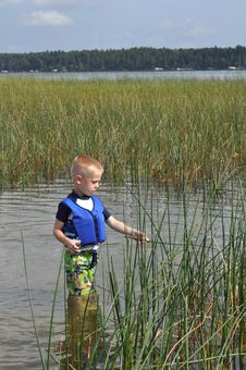 Boy At The Lake Royalty Free Stock Photos