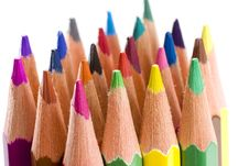 Brunch Of Colored Crayons Royalty Free Stock Photos