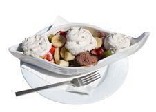 Free Dessert Of Ice Cream And Fruit In A White Boat. Royalty Free Stock Photography - 13905687