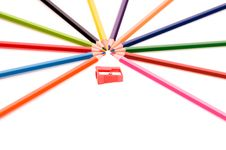Free Multicolor Pencils And Red Sharpener Royalty Free Stock Images - 13906409