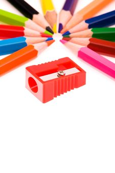 Free Multicolor Pencils And Red Sharpener Stock Photography - 13906432