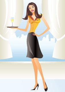 Free Beautiful Waitress In Apron Holding Coctail Stock Photos - 13907083
