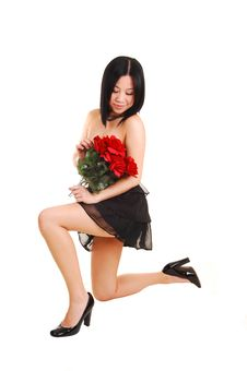 Free Chinese Girl Kneeling In Black Dress. Royalty Free Stock Photography - 13907287