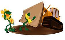 Free Bulldozer Versus Flower Stock Images - 13908394