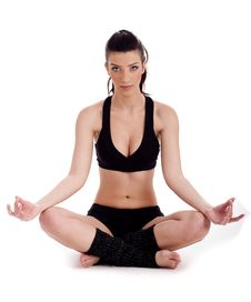 Free Woman Sitting In Meditation Posture Royalty Free Stock Image - 13908586