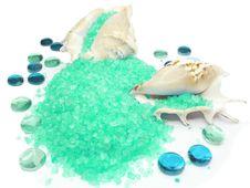 Free Spa Bathing Sea Salt In Shells Royalty Free Stock Photos - 13908738