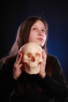 Free Teenager Girl With Human Skull Royalty Free Stock Photo - 13909815