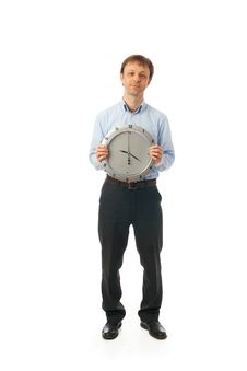 Free The Businessman With Clock Isolated On A White Royalty Free Stock Image - 13910366
