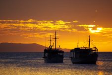Free Tropical Sunset Royalty Free Stock Photos - 13910748