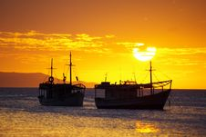 Free Sunset And Boats Royalty Free Stock Photo - 13910785