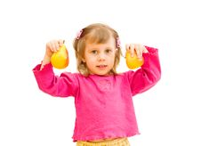 Free The Girl Has Control Over Pears Stock Photo - 13912940