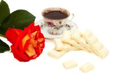 Free White Chocolate, Rose And A Cup Of Coffee Royalty Free Stock Image - 13913556