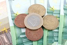 Euro Coins And Euro Cash. Stock Photos