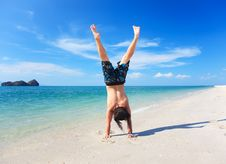 Casual Guy Doing The Handstand Stock Photo