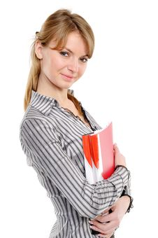 Young Woman Holding A Planner/folder Royalty Free Stock Images