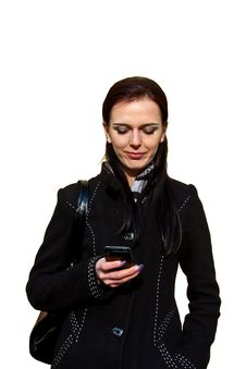 Business Lady Awaiting And Writing Sms. Isolated Stock Photo
