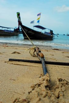 Free Longboat Anchored On The Beach Stock Image - 13915721