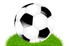 Classic Soccer Ball On Grass. Vector Royalty Free Stock Photo