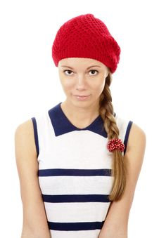 Free Portrait Of Girl In Red Hat Royalty Free Stock Photography - 13917407