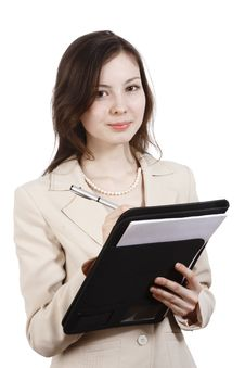 Free Girl Writing In Folder Stock Image - 13917621