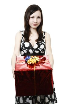 Free Girl With Present Stock Image - 13917761