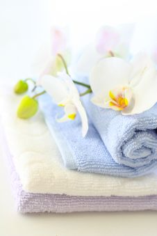 Free Towels And Orchids Stock Photos - 13918333
