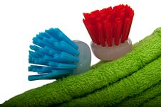 Free Two Brushes For Ware Washing Lie On Towel Stock Image - 13919541