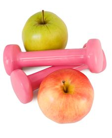 Free Pink Dumbbells And Apples Stock Photo - 13920250