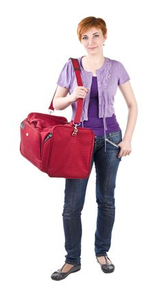 Free Girl With Red Bag Stock Photos - 13921303