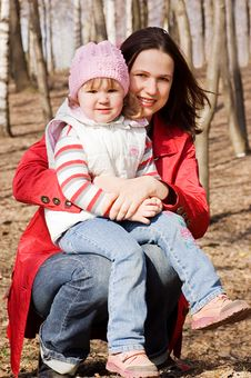 Mum With A Daughter Walking In Park Royalty Free Stock Photo
