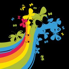 Free Rainbow With Butterflies Stock Photo - 13923780