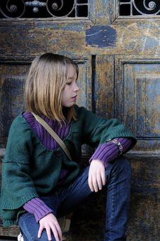 Free Young Model Profile And Door In Background Stock Photography - 13924782