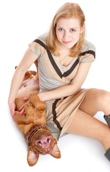 Free Young Girl With Puppy Of Dogue De Bordeaux Stock Photo - 13925900