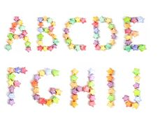 Color Lucky Stars Origami Alphabet Stock Image