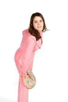 Beautiful Young Woman With A Handbag Royalty Free Stock Photos