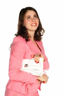 Beautiful Young Thinking Woman With A White Bag Royalty Free Stock Photography