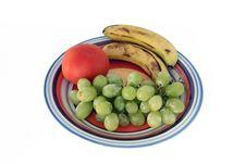 White Grapes, Bananas And Tomato Stock Photography