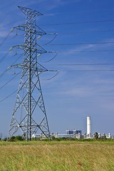 Power Plant And Power Lines Royalty Free Stock Photo