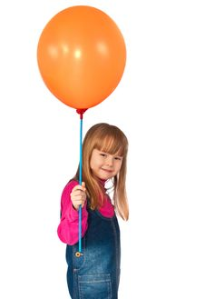 Free Little Girl Holds Balloon In Hand Stock Photos - 13927903