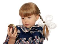 Free Little Girl Looks In Pocket Mirror Royalty Free Stock Images - 13928089