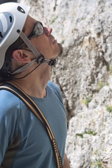 Free Climber Previewing A Route Stock Image - 13928681