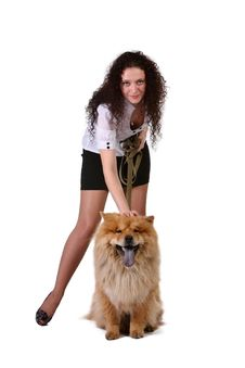 Free Young Woman With  Dog Stock Images - 13928994