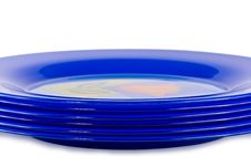 Free Six Dark Blue Plates Stock Images - 13929594
