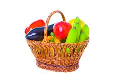 Free Basket With Vegetables And Fruit Royalty Free Stock Image - 13929906