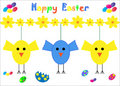 Free Happy Easter Card Chicks Stock Images - 13930744