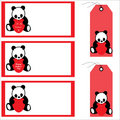 Free Panda Bear Banners And Labels Royalty Free Stock Photo - 13930825