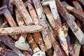 Free Rusty Pile Of Railroad Spikes Royalty Free Stock Image - 13930846