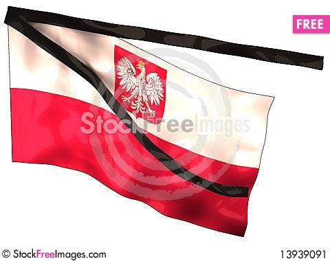 Free Poland Mourning Flag Stock Image - 13939091