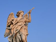 Free Angel With Lance. Sant Angelo Bridge. Rome. Italy Royalty Free Stock Photos - 13930318