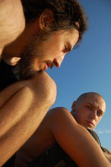 Two Men Sitting Outdoor Stock Photos